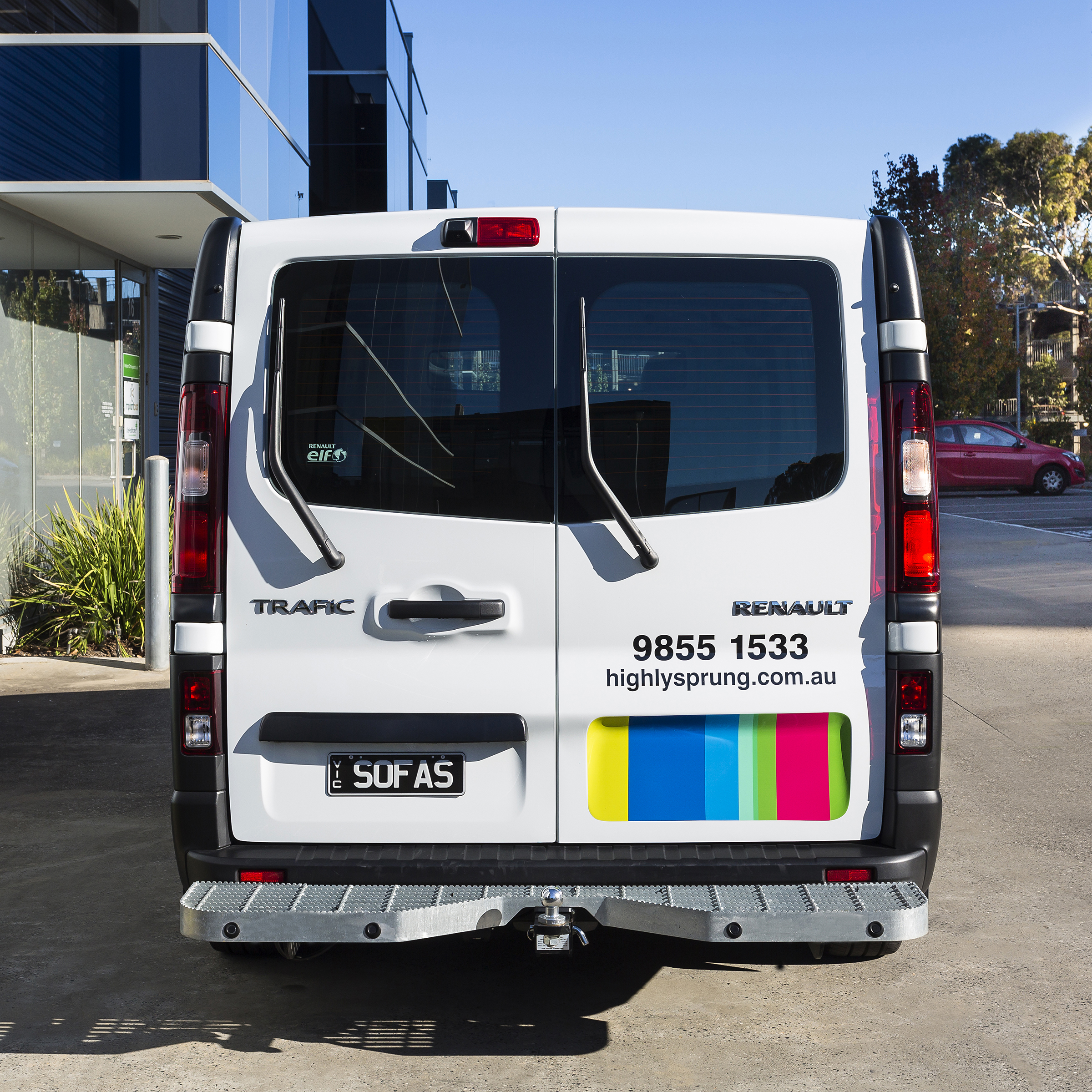 Rear view of Highly Sprung van designed by Bite Visual